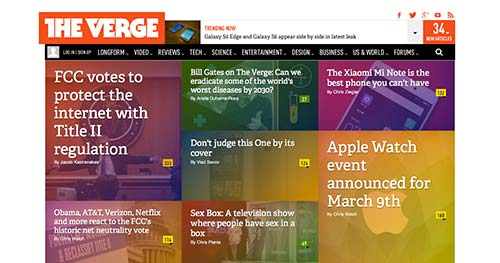 Ejemplos de paginas web de revistas y diarios online: The Verge