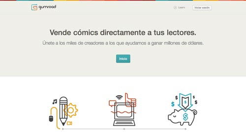 Páginas para vender por internet productos digitales: Gumroad