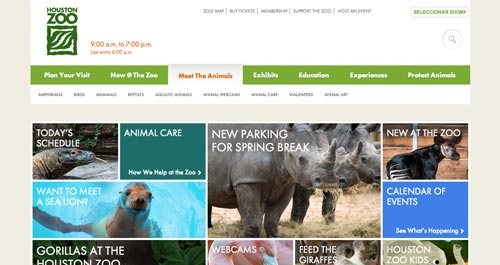 Examples of websites of Zoos and Aquariums: Houston Zoo