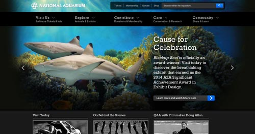 Ejemplos de paginas web de zoológicos y acuarios: National Aquarium
