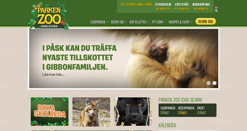 Examples of websites of Zoos and Aquariums: Parken Zoo