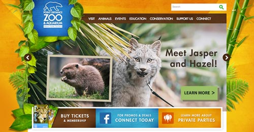 Ejemplos de paginas web de zoológicos y acuarios: Point Defiance Zoo & Aquarium