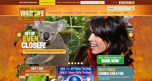 Examples of websites of Zoos and Aquariums: Wild Life Sydney Zoo