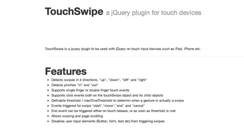 Plugin JQuery optimizados para dispositivos móviles táctiles: TouchSwipe