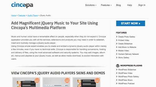Plugin Jquery para reproducir audio en tu sitio: Cincopa JQuery Audio