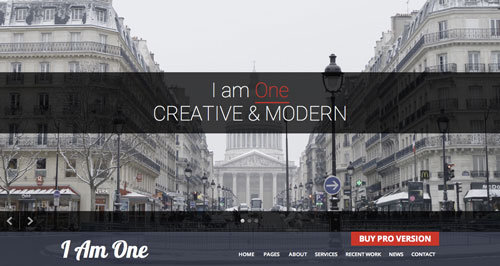 Temas WordPress gratuitos con efecto parallax: I am One