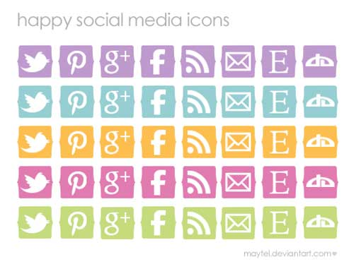 Pack gratuito de iconos de redes sociales: Happy Social Media Icons de maytel