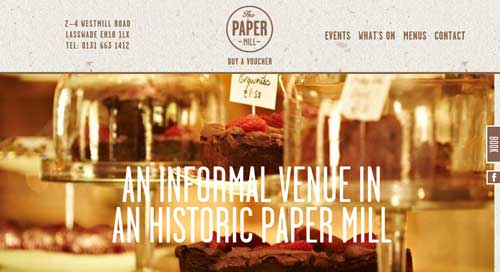 Ejemplo de sitios web de restaurantes: The Paper Mill